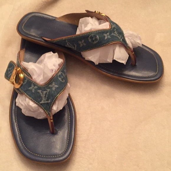 dec2309d1eb5 Louis Vuitton Shoes - EUC LV denim sandals